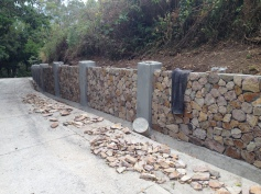 the retaining wall we built along our road