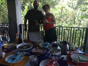 Scott & I enjoying our Easter Brunch with friends..